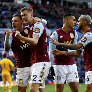 Aston Villa's Bjorn Engels (centre-left) celebrates scoring his side's second goal of the game with his team mates